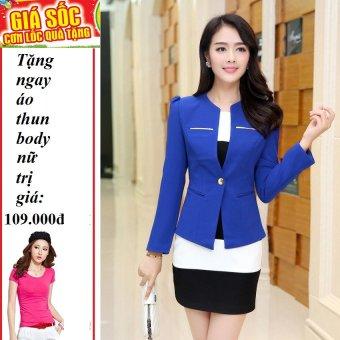 Áo vest nữ phối nẹp kim loại (Xanh) + Tặng 1 áo thun body nữ