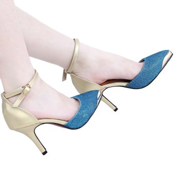 Stylish Pointed Toe Thin High Heel Shoes (Blue) - intl
