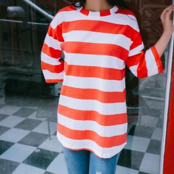 Áo thun nữ big size tay lửng (Sọc trắng hồng)