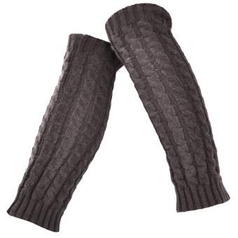 1 Pair of Women Braided Style Long Crochet Knit Leg Warmer Winter Leg Warmers Socks Boot Cuffs Socks Toppers Deep Grey - intl