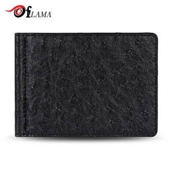 FLAMA Stylish PU Leather Press Print Cash Clip Small Card Wallet For Men(Black) - intl
