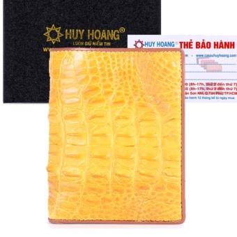 Bóp nam Huy Hoàng da cá sấu kiểu đứng gai lưng màu vàng tươi