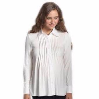 MEV Áo bầu sơ mi tay dài, xếp li ngực Mothers En Vogue - Pintuck Tissue Shirt - XL - White