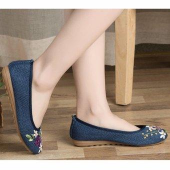 Giày bầu búp bê thêu hoa, đế cao su STT-GN2585(EU: 35-39, xanh nước biển )