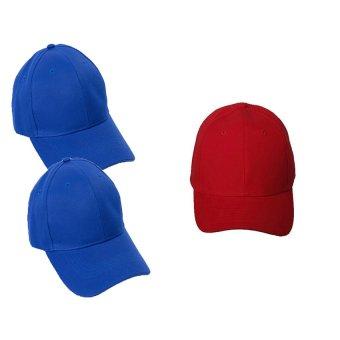 Bộ 3 mũ lưỡi trai trơn cá tính My Style GT 247 (2 Xanh+1đỏ)