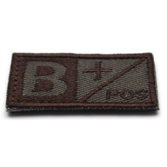 Woodland Olive Green Military Blood Type B + Positive Hook Patch - intl