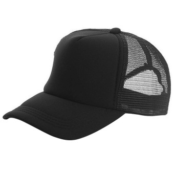 Unisex Adjustable Casual Sport Baseball Breathable Blank Mesh Sun Protection Trucker Hat Peaked Hat Cap Black - intl