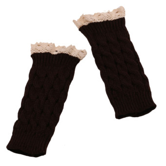 Knitted Fringe Warm Gloves Coffee