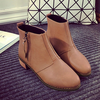 Women's Short Ankle Boots With Side Zipper And Thick Heel Design(Light brown) - intl