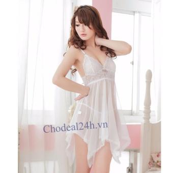 Váy ngủ Sexy Voan mỏng đệm Ren Chodeal24h.vn (trắng)