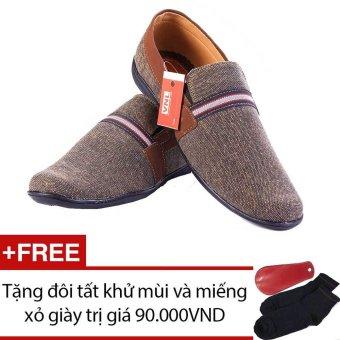 Giày lười nam cao cấp Da Giày Việt Nam VNL1LZD20X (Xám) + Tặng 01 đôi tất khử mùi và 01 miếng xỏ giày trị giá 90.000 VND