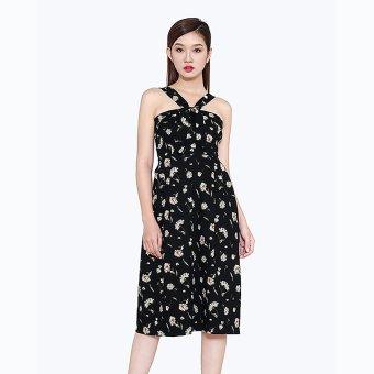 Đầm Vintage Xếp Ly Hoa Thời Trang Eden (Nền Đen hoa cúc)