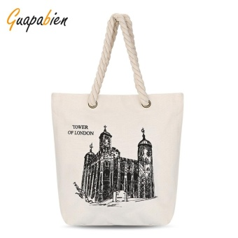 Guapabien Simple Cute Patterns Light Canvas Tote Bag For Women(Off White Castle) - intl