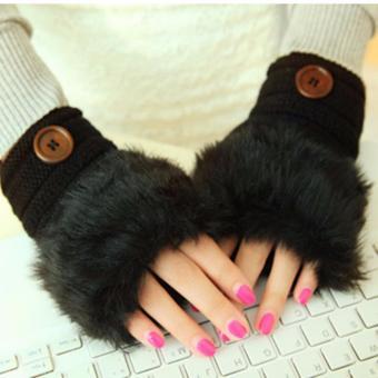 Găng tay nữ hở ngón thời trang (Đen)