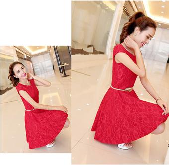 Đầm ren thun xòe suzy Đỏ 404190