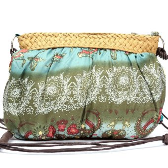 Womens Small Handmade Bohemian Straw Beach Purse Shoulder Bag Army Green - Intl