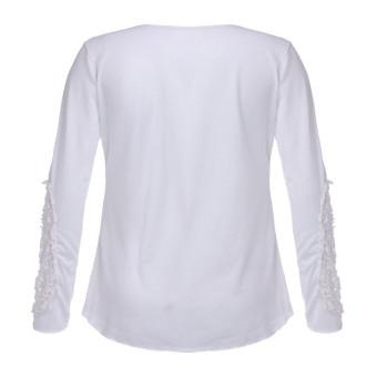 ZANZEA Long Sleeve Embroidery T-shirt Women Korean Round Neck Blouse (Intl)
