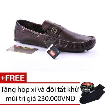 Giày lười nam da thật Da Giày Việt Nam VNLLS11AZA1-2QN (Nâu) + Tặng hộp xi và đôi tất khử mùi