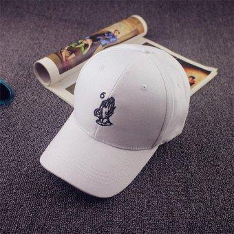 Men Women Hand Peaked Hat HipHop Curved Snapback Dance Baseball Cap Adjustable White - intl