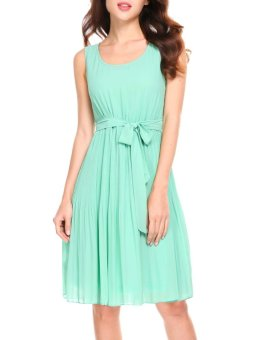 Cyber Women Casual Sleeveless Solid A-Line Pleated Hem Chiffon Dress with Lining ( Green ) - intl