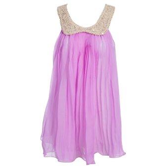 Sweet Girls Chiffon Dress With Sequins Sleeveless Ruffle (Purple) - Intl