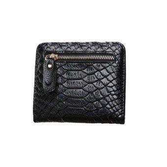 Women Crocodile Crown Long Purse Wallet Card Holder Handbag Bag Black - intl