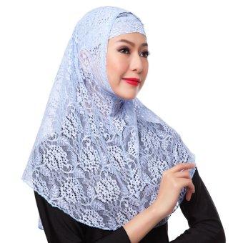 New Fashion Full Cover Muslim Hijab Two Piece Set Lace Solid Islamic Turban Cap Beanies Blue - intl