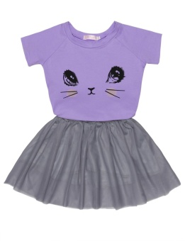 Cyber Kids Girl O-Neck Short Sleeve Print Tops and Skirt Sets ( Purple ) - intl