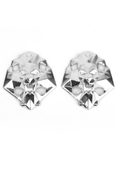 BolehDeals Footful Lion Head Metal Shoe Lace Locks Art Decoration Pair Silver - intl