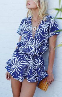 YOINS Blue Palm Print Short Sleeve Wrap-over Playsuit with Frill Hem - intl