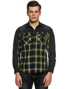 Linemart Men Slim Turn Down Collar Long Sleeve Plaid Patchwork Button Down Casual Shirts ( Yellow ) - intl