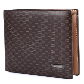 Male Plaid Pattern Leather Bifold Purse (Coffee) - intl