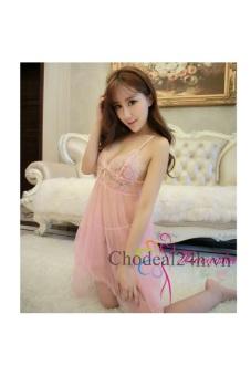Váy ngủ Sexy Voan mỏng đệm Ren.vn (Hồng phấn)