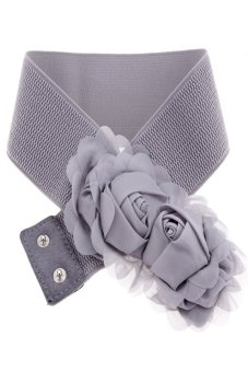 Double Rose Flower Buckle Style Elastic Belt Waistband (Grey) - Intl