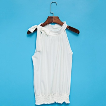 Simple Jewel Neck Bowknot Pure Color Women Tank Top(White) - intl