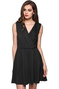 Cyber Finejo Sexy Elegant Women V-neck Lace Patchwork Party Sleeveless Dress ( Black ) - Intl