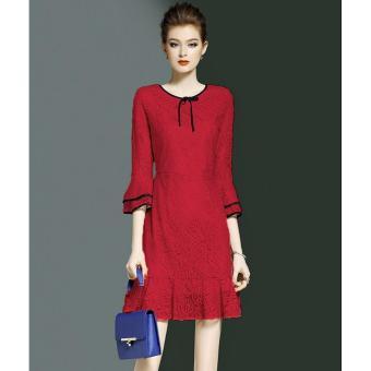Đầm Ren Phối Bèo Maika (M,L,XL,XXL) - K57 - ( Đỏ) Bui Nguyen