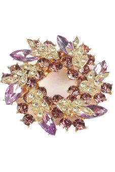 Rhinestone Crystal Flower Brooch Pin (Purple) - Intl
