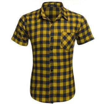 Cyber COOFANDY Men's Short Sleeve Turndown Neck Plaid Shirt (Yellow) - Intl