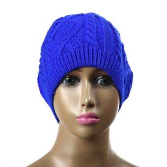 2015 Feminino Twist Pattern Women Winter Knitted Sweater Hats Blue (Intl)