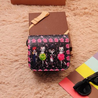 Moonar Fashion women PU Leather Cat Wearing Big Glasses Print Shoulder Handbags (Little Fox) - intl