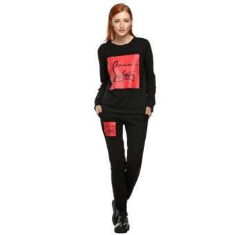Sunweb Finejo Autumn Winter Fashion Women Casual Sport O-neck Long Sleeve Hoodie Top And Pant Two Piece ( Black ) - Intl - intl