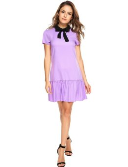 Linemart Women Vintage Style Turn Down Collar Puff Sleeve Ruffled Short Dress with Tie ( Purple ) - intl