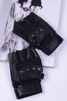 Men Soft Sheep Leather Driving Motorcycle Biker Fingerless Warm Gloves Black
