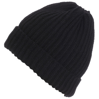 Unisex Solid Color Vertical Stripe Thick Beanie Knitted Warm Fall Winter Ski Cap Hat Black - intl