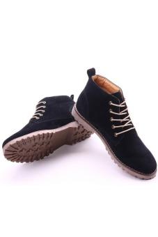 Giày bốt cổ cao dây cột da lộn Glado G45D (Màu đen)