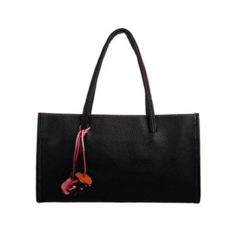 Fashion girls handbags leather shoulder bag candy color flowers tote Black - intl