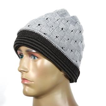 Men Women Winter Skull Knit Beanie Baggy Cap Warm Unisex Hat Gray (Intl)