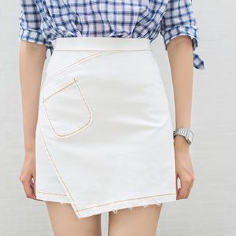 Women Package Buttocks Stretch Irregular Split Skirt (White) - intl