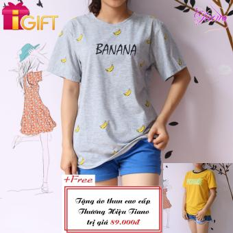 Áo Thun Nữ Tay Ngắn In Hình Banana Dễ Thương Tiano Fashion LV305 ( Màu Xám ) + Tặng Áo Thun Nữ Tay Ngắn In Hình Push Dễ Thương Tiano Fashion
